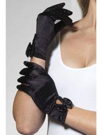 Перчатки Леди атласные (черные) (Fever)