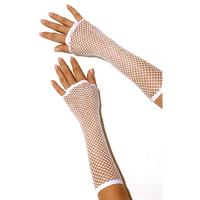Длинные белые перчатки в сетку
