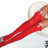 Красные чулочки с белым мехом и колокольчиками