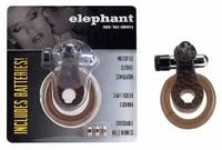 Кольцо эрекционное Слоник черн., с вибрацией и подхватыванием мошонки