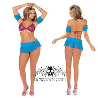 Костюм танцовщицы:топ-бюст.+нижняя юбка+стринги+наручники