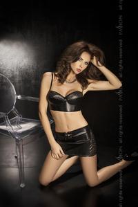 Комплект:нижняя юбка+топ+стринги,черный,твоя вторая кожа