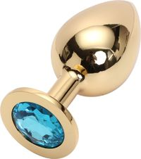 GOLDEN PLUG LARGE (металл.) цвет кристалла голубой