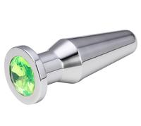 Втулка анальная серебряная цвет кристалла светло - зелёный