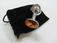 Оранжевый мини-плаг из стали с кристаллом