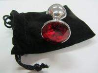 Красный мини-плаг из стали с кристаллом