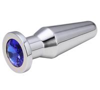 Втулка анальная серебряная цвет кристалла синий
