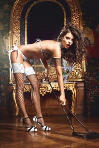 Чулки Five Star French Maid высокие в сетку черные (42-46)