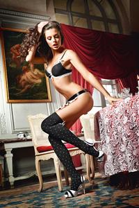 Чулки Playful French Maid высокие черные (42-46)