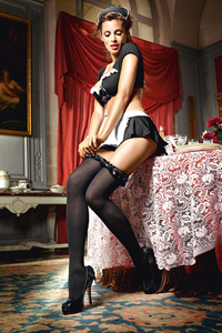 Чулки Mischievous French Maid высокие черные (42-46)