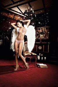 Back in Heaven G-Стринги светло-розовыеиз тюлевой ткани с узором в ромб и кружевной манжеткой
