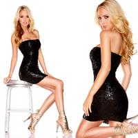 Черное платье-бандо с пайетками THE SPARKLING QUEEN