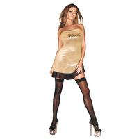 Золотое платье с надписью HUSTLER