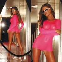 Ультракороткое платье в розовую сетку