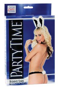 Костюм Party Time Bunny Ears and Cottontail: ушки зайчика и стринги с хвостиком черно-белый