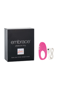 Перезаряжаемое эрекционное кольцо с вибро-стимулятором Embrace Pleasure Ring розовое