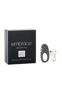 Перезаряжаемое эрекционное кольцо с вибро-стимулятором Embrace Pleasure Ring серое