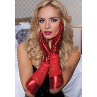 Красные комбинированные перчатки до локтя