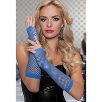 Длинные ажурные перчатки синие BLU